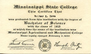 Walter E. Dove's first academic credential.